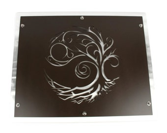 "Windy Tree and Roots Statement Wall Art, Layered Metal Wall Decor 20x25"" -- outdoor safe!"