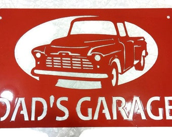 Metal Chevy Pickup Sign -- HOT ROD GARAGE or Dad's Garage. Your custom text Garage Gift Sign!
