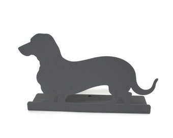 "Magnetic Steel Standing Wiener Dog Dachshund Sign -- 10.75"" wide"