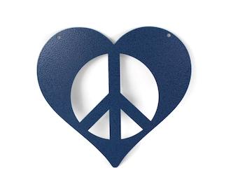Metal Heart Peace Sign Garden Sign, Valentine heart, heart hanging sign, peace and love, peace hearts, peace sign, peace symbol
