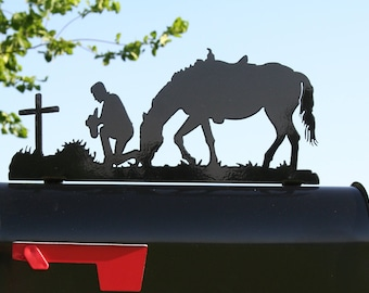 Praying Cowboy Mailbox Topper, Metal Cowboy Mailbox Top, cowboy and horse, cowboy prayer, cowboy memorial, western mailbox topper