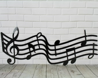 "Metal Music Staff Wall Art, 16-48"" wide, music decor gift, music room sign, music room art, musical art, gift for musician, back to school"