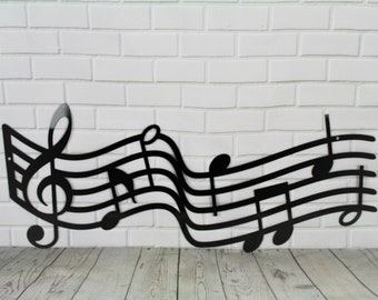 Metal Music Staff Wall Art, music gift, music decor, music room sign, music room art, musical art, gift for musician, back to school