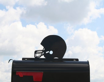 Football Helmet Metal Mailbox Topper, Football Team Mailbox, Sports Mailbox Top, Football player, address number, team number, initials