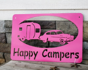 Happy Campers Sign, campground sign, camping sign, rv gift, metal sign, pink rv sign, vintage camper sign, teardrop camper, 50s style