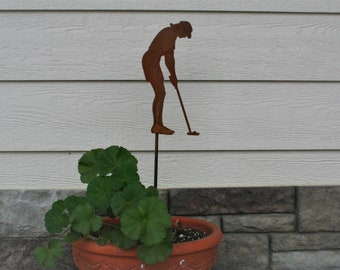 Metal Female Golfer Yard Stake, golf garden art, golf course landscape art, golf decor, golfer gift, mother's day golf gift, golf tournament