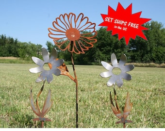 Garden stake set, Gardener gift set, Metal Flower, Set of flowers, Daisy stake, Farm and garden, Landscape Set, Mixed Garden Stakes