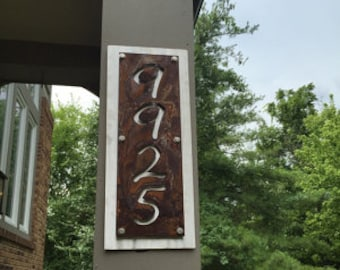 """Script Style Vertical Metal House Number Address Name Sign, 8x12"""" up to 10x32"""" with many color choices!"""