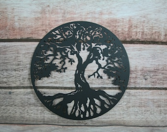 Round tree of life bare metal paint project, DIY gift idea, metal family tree sign decor, paint your own, bare raw steel metal tree sign