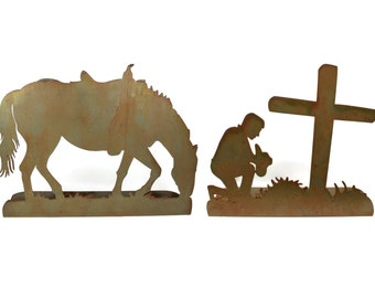 "XL Rustic Metal Praying Cowboy Metal Art Western Decor 24x55"""