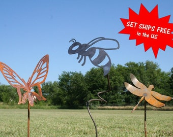 Garden stake set, Bug stakes, Gardener gift set, Bee stake, Butterfly stake, Dragonfly stake, Insect stakes, Farm and garden, Landscape Set