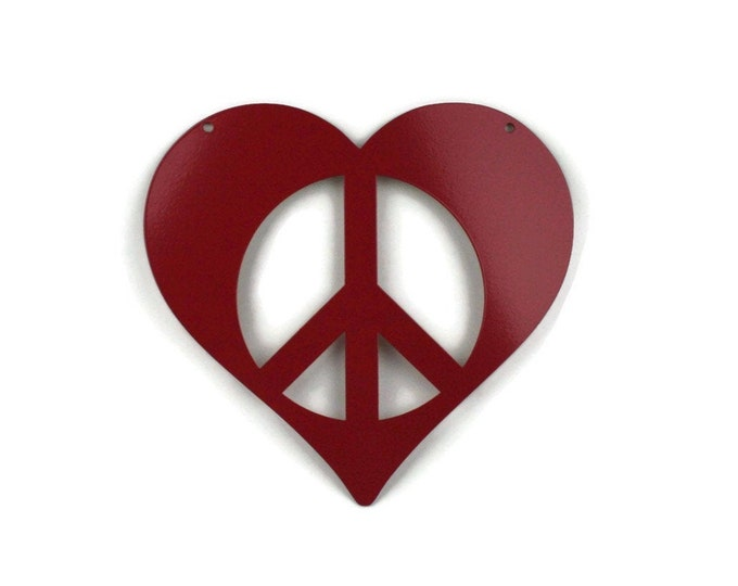 Featured listing image: Metal Heart Peace Sign Garden Sign, Valentine heart, heart hanging sign, peace and love, peace hearts, peace sign, peace symbol