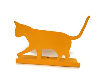 "Magnetic Steel Standing Cat Sign -- 10.75"" wide"