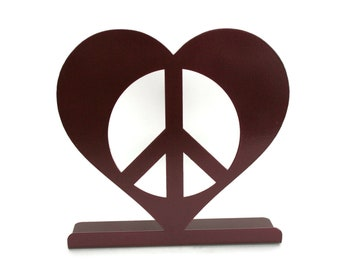 Metal Heart Peace Sign Standing Magnet Sign Board Photo Holder, Valentine heart, peace and love, peace hearts, peace sign, peace symbol