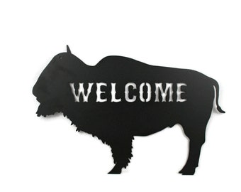 "Metal Buffalo Welcome Sign, Western Buffalo Bison Decor, Cabin Welcome 18"" wide"