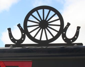 Western Metal Mailbox Topper, Metal Horseshoe Mailbox Top, Wagon Wheel Mailbox Top, horse shoes, wagon wheel, western scene, western sign