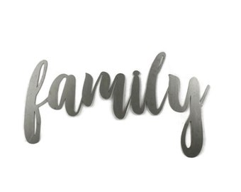 family script, family metal sign, metal word art, new baby gift, steel script cursive font, DIY family sign, family photo gallery wall decor