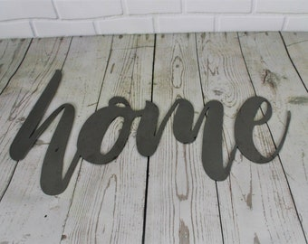 home script, home metal sign, metal word art, inspirational sign, welcome to our home, greeting, entryway sign, welcome entryway, entrance