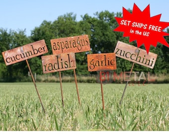 Set of 18 OR MORE Classic Metal Garden Markers - set of garden markers, garden label, vegetable garden, plant markers, herb garden markers