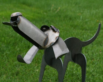 Metal Standing 3D Hound Dog Sculpture Statue - outdoor safe weatherproof