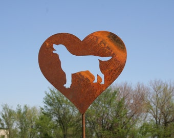 Lab Dog Heart Garden Stake, pet memorial, border collie labrador golden retriever, dog stake, rainbow bridge