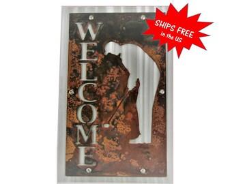 Custom Vertical Welcome Sign, Rustic Metal WELCOME sign, Two-Tone Welcome Sign, Outdoor Welcome sign, Golfer Welcome, Golfing Sign, Golfer