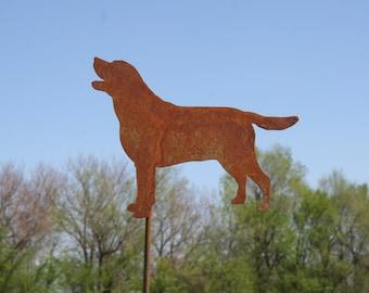 Lab Dog Garden Stake, Rustic Dog Stake Sign, pet memorial, border collie labrador golden retriever, dog stake, rainbow bridge