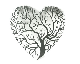 "Heart shaped tree of life sign, metal valentine gift idea, metal love heart sign, family tree decor -- 15.25"" tall powder coated"