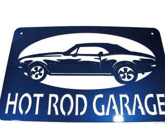 "Metal Chevy Camaro Hot Rod Garage Metal Sign -- 22"" wide"