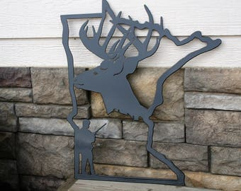 Minnesota Deer Hunting Sign, Deer Hunter Sign, Deer Hunting Decor, Deer Man Cave, Minnesota hunter, state of Minnesota, Hunting Metal Art