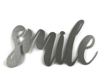 smile script, smile metal sign, metal word art, happy smiling encouragement inspirational sign, smile text, cursive smile sign, mothers day