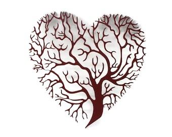"Heart shaped tree of life sign, metal valentine gift idea, metal love heart sign, family tree decor -- 15.5"" tall powder coated"