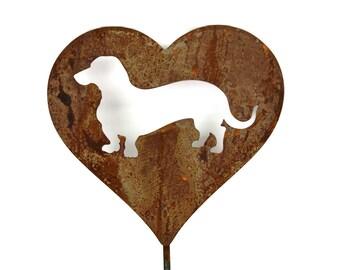 Wiener Dog Heart Garden Stake, pet memorial, dachshund love, dachshund sign, wiener dog sign, dog stake