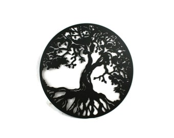 "Round tree of life sign, metal family tree sign decor -- 15"" diameter powder coated"