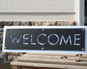 Metal WELCOME Sign, modern welcome, layered metal welcome, entryway welcome, welcome to our home, outdoor welcome sign, hanging welcome
