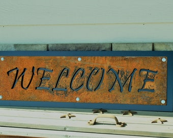 Metal Welcome Sign, Rustic Black WELCOME Sign, Ranch Welcome Sign, Outdoor Welcome sign, Western Welcome, entryway cabin lodge welcome sign