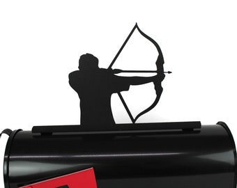 Archery Metal Mailbox Topper, Metal Archer Mailbox Top, Bow and Arrow Mailbox Top, arrow, pointing, shooting, arrows, competitive archery