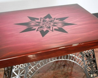 Hand Painted Aluminum Table Top, TOP ONLY -- Attach to your own table base! DIY table top