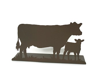 "Magnetic Steel Standing Cow and Calf Sign -- 11.5"" wide"
