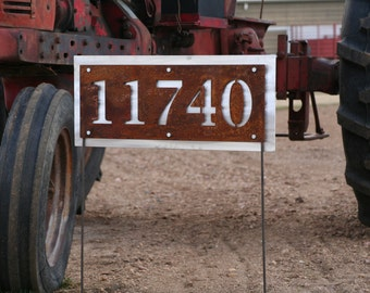 Rustic Metal Address Number Sign, House Number on Yard Stake, Address Yard Sign, House Number Yard Sign, Street Address Plaque