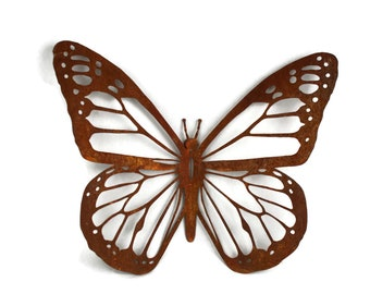 Monarch Butterfly Rustic Steel Wall Art Decor -- single or set 15-24""