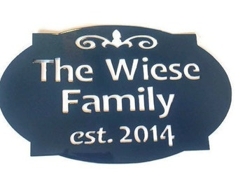"Customized Metal Family Sign -- 18"" wide, year established anniversary or wedding gift"
