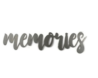 memories script, memories metal sign, metal word art, memories sign, steel script cursive font, DIY memories sign, gallery wall word art