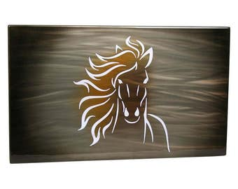 Horse Painting, Aluminum Art Panel, lighted wall decor, modern wall art, custom airbrush, running horses, lobby wall art, office wall art