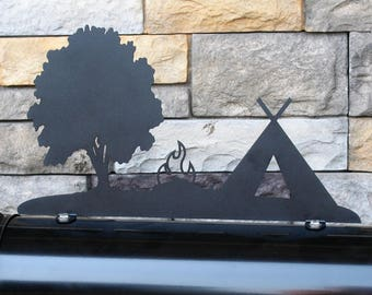 Tent Camping Metal Mailbox Topper, Campsite Mailbox, Camping Mailbox Top, Outdoors Mailbox, Scouting, Hiking, Hiker, Campfire, Campground