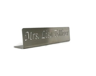 "Stainless Steel Desktop Professional Office Name Plate -- 14"" wide 2.5"" tall"