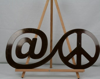 at peace Metal Wall Decor, meditation sign, peace sign, indoor peace sign, calming decor, vacation home decor, gift for her, gift for him