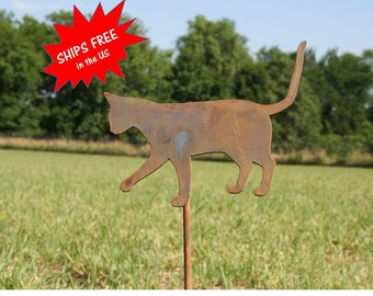 Metal Cat Garden Stake, SHIPS FREE!!! cat yard sign, outdoor cat stake, crazy cat lady, garden marker, rustic garden art, rusty garden stake