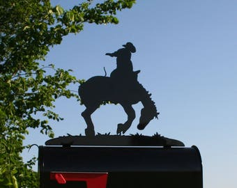 Rodeo Bucking Bronco Horse Ranch Style Metal Mailbox Topper