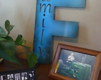 "Metal FAMILY sign -- 16"" tall"
